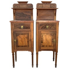 1900s, Art Nouveau Pair of Walnut Nightstands with Crest and Marble Top