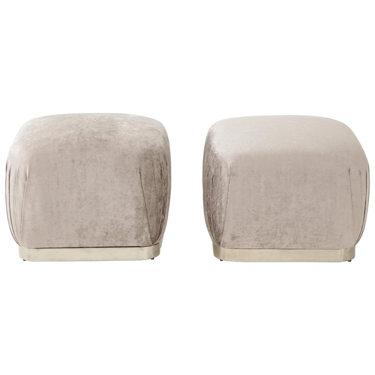Pair of Souffle Ottomans or Poufs by Karl Springer For Sale