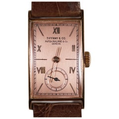 Rare 1942 Solid Rose Gold Patek Philippe & Tiffany & Co. Men's Watch & Paperwork