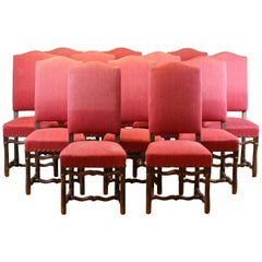 Set of 12 French Early 19th Century Upholstered Os De Mouton Dining Chairs