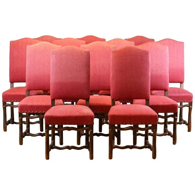 Set of 12 French Early 19th Century Upholstered Os De Mouton Dining Chairs For Sale