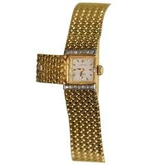 Vintage Solid 18-Carat Gold & Diamond Ladies Rolex Precision Bracelet Wristwatch