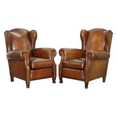 Rare Comfortable Victorian Wingback Whisky Brown Leather Armchairs Feather Seats