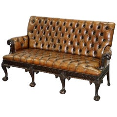 19th Century Hand Carved Hawk Claw and Ball Feet Chesterfield Sofa Brown Leather