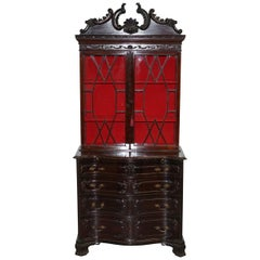 George III Thomas Chippendale Mahogany Bookcase on Serpentine Chest Drawers