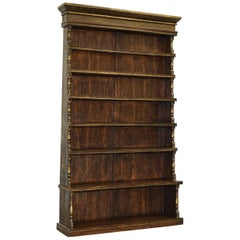 Huge Hand Painted Oak Waterfall Library Bookcase Gold Leaf Paint
