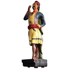 Hand Carved Wooden English Tobacco Shop Trade Sign Advertising Figure circa 1860