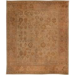 Brown Antique Turkish Oushak Rug