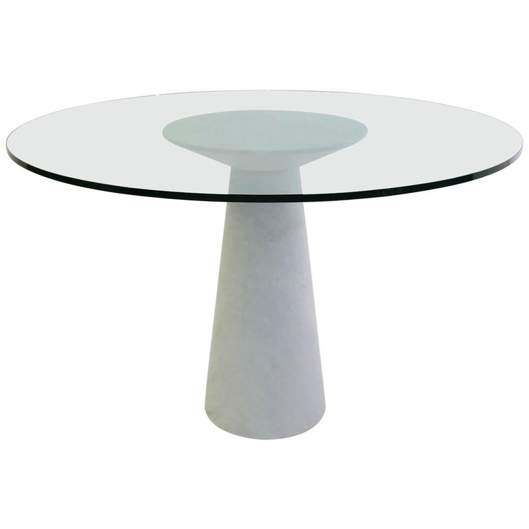 Angelo Mangiarotti Round Marble and Glass Table For Sale