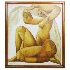 Jean Claude Bastille Panel Painting, Belgium, 1964