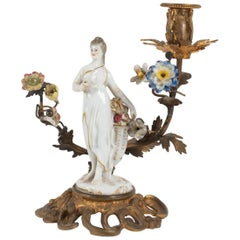Candlestick in Ancient Porcelain and Gilded Metal, 19th Century
