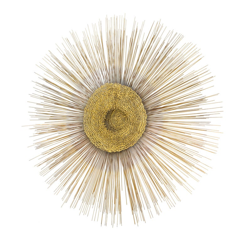 Giant 1970s Brass Sunburst Wall Sculpture by Curtis Jere For Sale