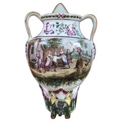 19th Century Hand Painted Faience Wall Fountain in Teniers' Style
