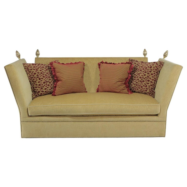 Gold Red Sofa Set For Sale: Ravishing Silk Velvet Knole Style Sofa With Gold Acorn