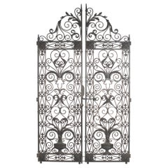 Super Impressive Pair of European Hand Wrought Iron Ornate Architectural Gates