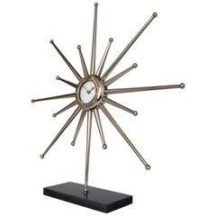 1960s Silver Plated Hand Machined Sunburst Desk Clock, USA