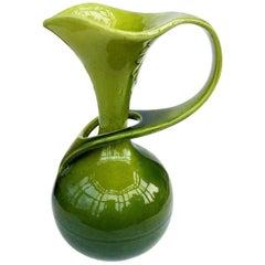 19th Century Arts & Craft Majolica Bretby Green Ewer