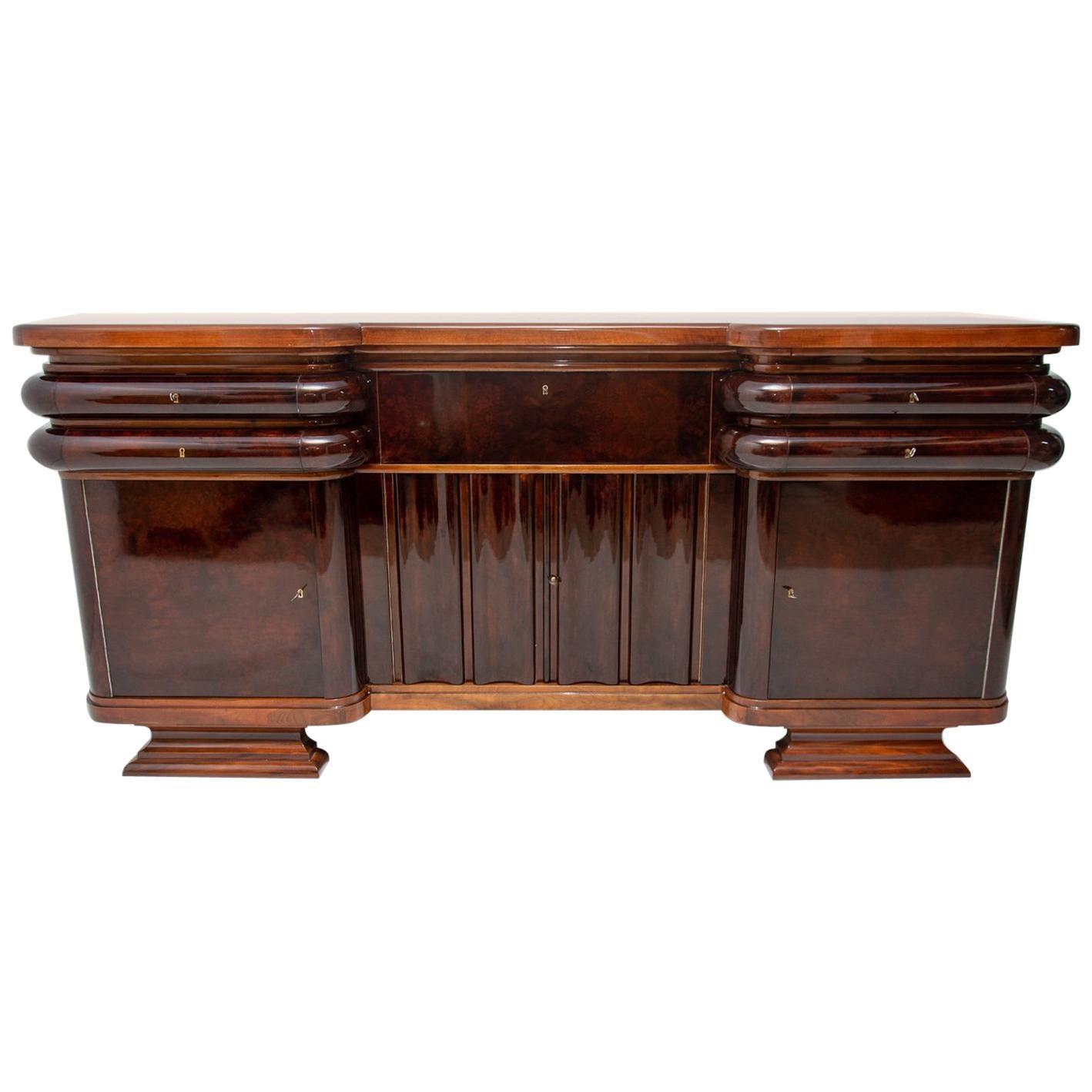 French Art Deco Style Walnut Sideboard or Buffet, 1930s, Bohemia