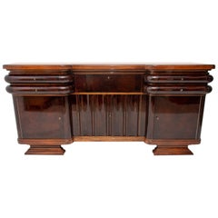 French Art Deco Style Walnut Sideboard or Buffet, 1930s, Bohemia