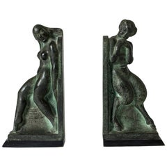 Pair of Patinated Bronze Bookends by Axel Gute