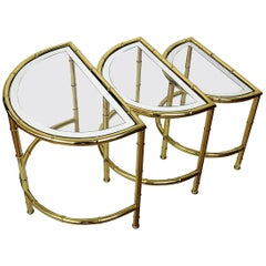 Brass and Mirror Glass Bamboo Hollywood Regency Nesting Round Coffee Tables