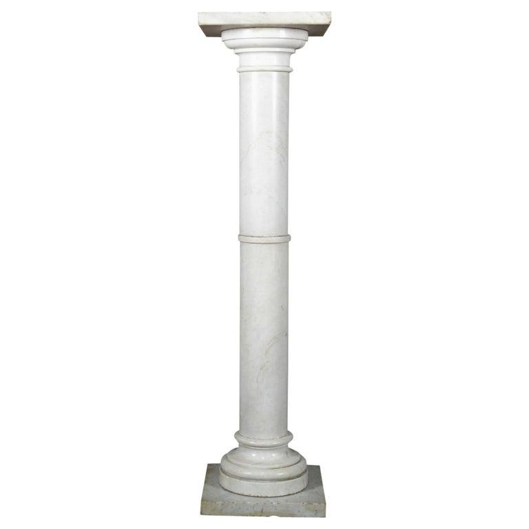 Antique Italian Marble Corinthian Column Sculpture Display Pedestal, circa 1890 For Sale