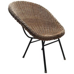 Rattan Bucket Chair with High Back by Dirk Van Sliedregt for Rohé, 1960s