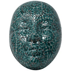Contemporary Japanese Green Ceramic Mask by Master Artist