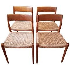 Teak Dining Chairs No. 75 from N.O. Møller for J.L. Møller, 1960 Set of 4
