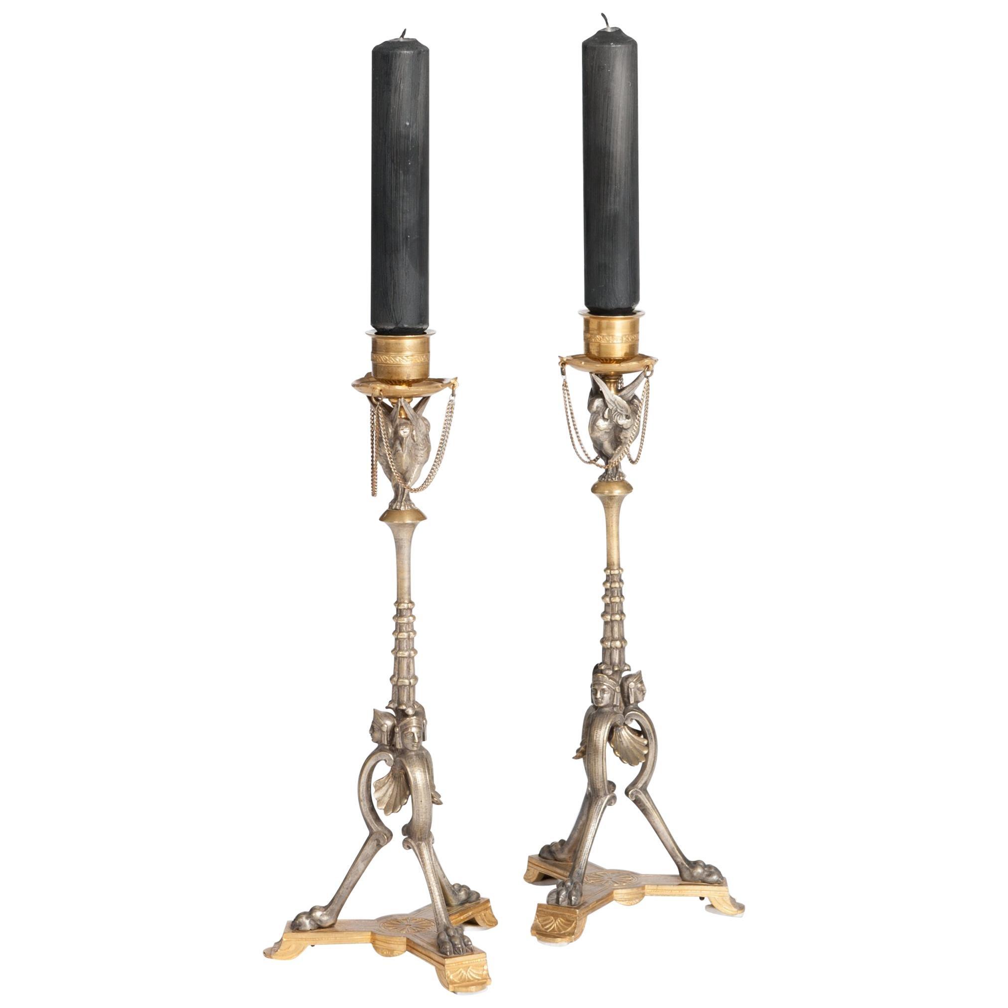 Pair of French Napoleon III Candlesticks Bronze & Bronze Firegilt by A. Daubrée
