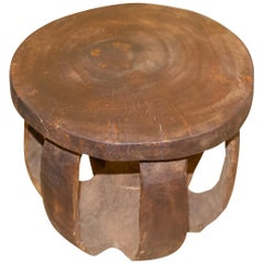 Andrianna Shamaris Mahogany Wood African Side Table or Stool