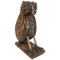 Folk Art Wooden Carved Owl