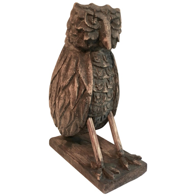 Folk Art Wooden Carved Owl For Sale