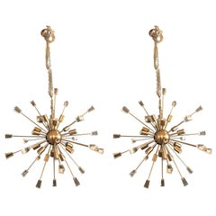 Pair of Brass Eighteen-Light Sputnik Chandeliers in the Mid-Century Modern Style