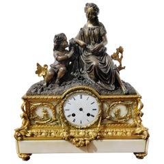 Mid-19th Century Napoleon III Gilt Bronze Ormolu and Marble French Mantel Clock