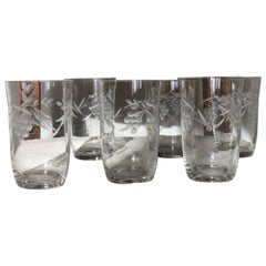 Six Stunning Engraved Grape Victorian Etched Tumbler or Goblets