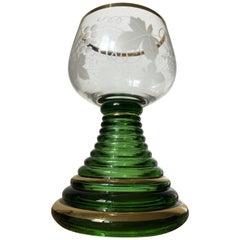 German Romer Wine Green Glass Goblet Grape Engraved, 1960s