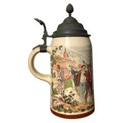 Beer Stein Stoneware 1/2 Liter Mug Original Pewter Hinge Dancing Drinking Scene