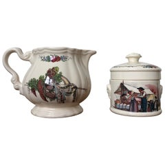 Obernai France Sarreguemines Lorraine Milk and Sugar Spice Jar, circa 1950