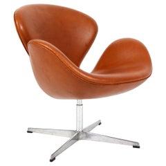 Arne Jacobsen Swan, New Upholstered Cognac Aniline Leather, Fritz Hansen, 1981