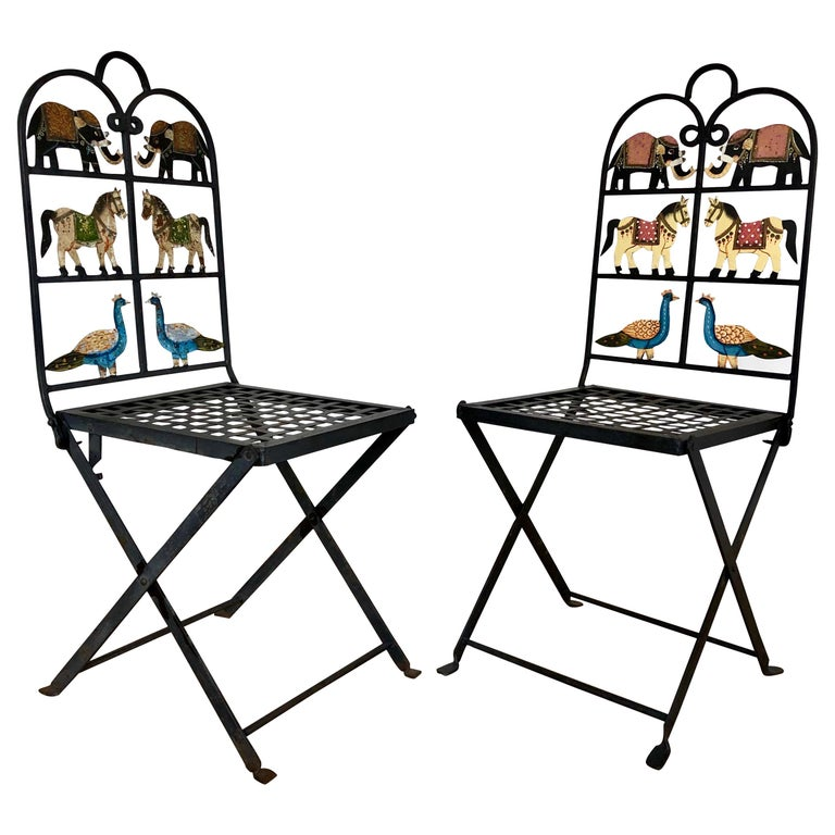 French Foldable Pair of Wrought Iron Garden Chairs with Animals Elephants Horse For Sale