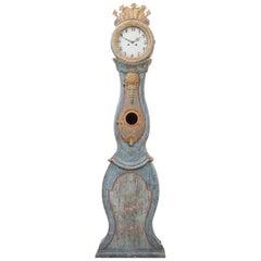 18th Century Swedish Folk Art Longcase Clock in Rococo from Jämtland