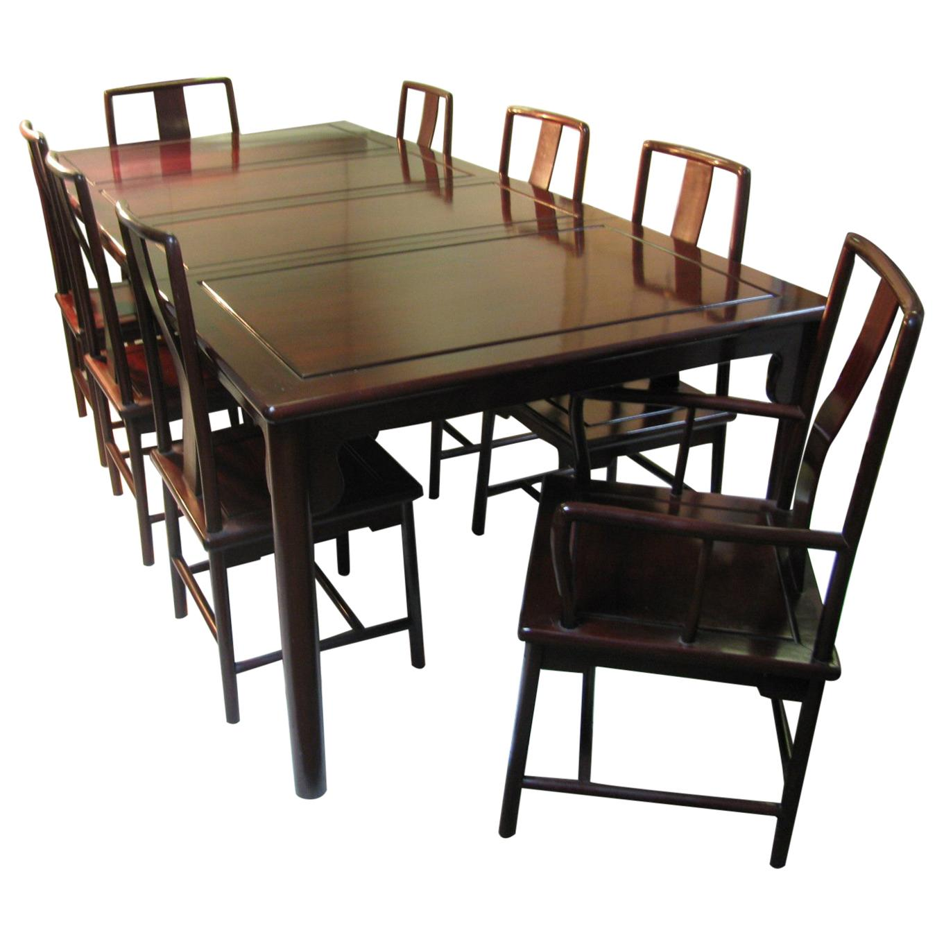 225 & Midcentury Chinese Rosewood Dining Table and Eight Chairs