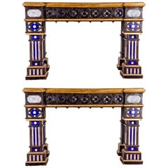 Pair of Italian 19th Century Neo-Gothic Console Tables