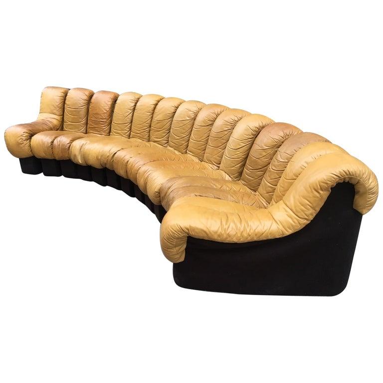 De Sede DS600 Cognac Leather Non Stop Sofa For Sale