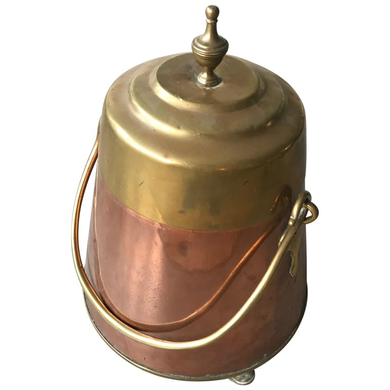 Antique Stylish Copper and Brass Coal Kettle, Fire Extinguisher Fire Place Decor For Sale