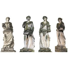 Italian Stone Garden Statues Representing the Four Seasons