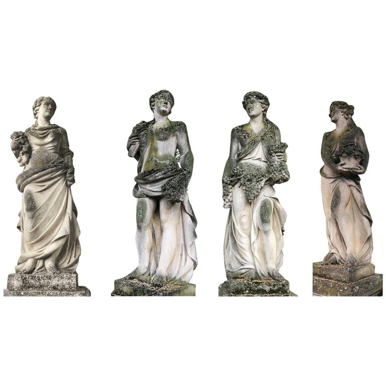 Italian Stone Garden Statues Representing the Four Seasons For Sale