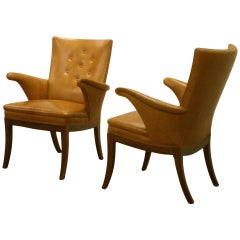 Pair of Elegant Armchairs in Nigerian Leather by Frits Henningsen