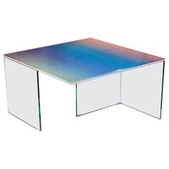 Trichroic Table Made with 3 Layers of Glass and Colored Bands, 1stdibs New York